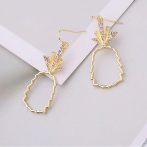 Dangle Earrings Clear Stone with Gold